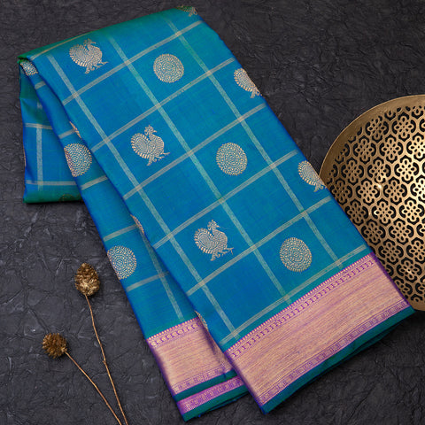 Peacock Blue Pure Kanjeevram silk saree