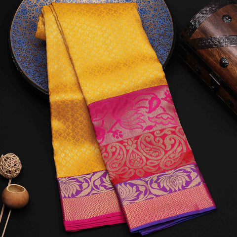 Bright Yellow Kanchipuram Silk Saree