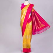 Mustard Yellow pure Kanjeevaram silk saree