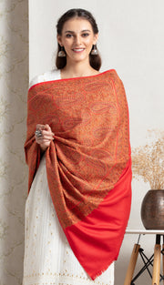 Pure pashmina shawl with jamyavar handwoven print