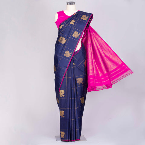 Navy Blue pure Kanjeevaram silk saree