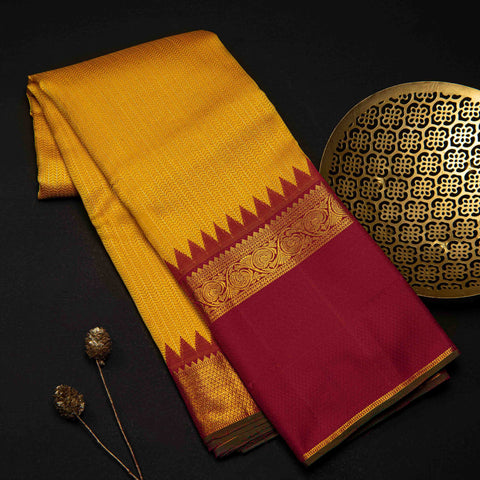 Yellow & Red Traditional Pure Silk Saree