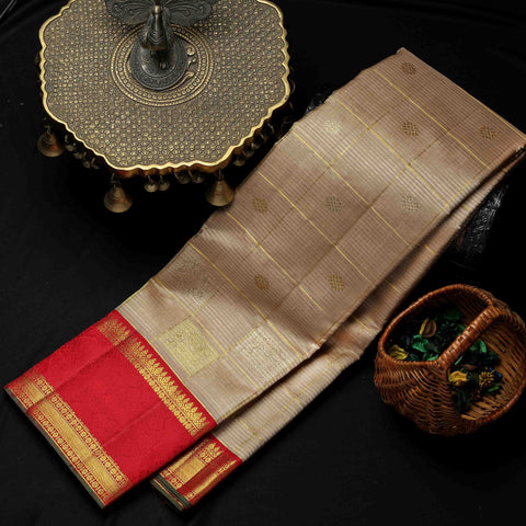 Beige & Red Kanchipuram Silk Saree