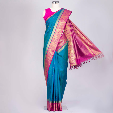 Peacock Blue Kanjeevaram silk saree