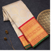 Cream pure Kanjeevaram silk saree