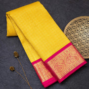 Yellow pure Kanjeevaram silk saree