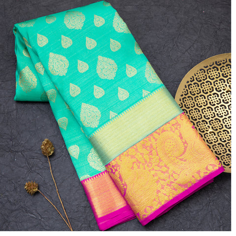 Aqua Green pure Kanjeevram silk saree