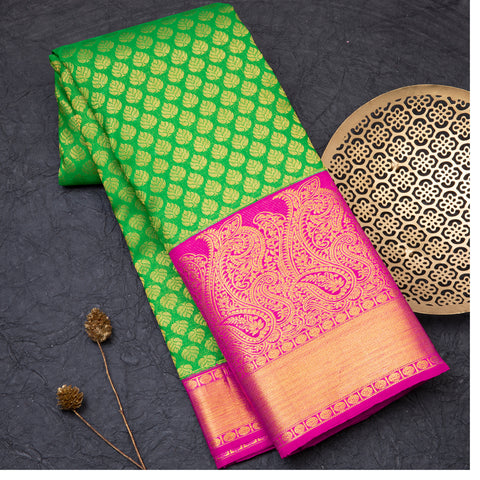 Leaf Green designer pure Kanjeevaram silk saree