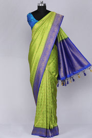 Parrot green art silk fancy saree
