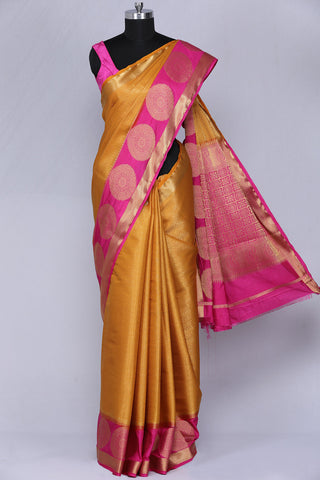 Mustard yellow art silk fancy saree