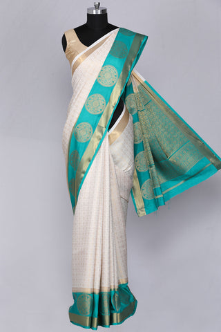 Off white art silk fancy saree