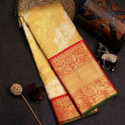Gold Tissue Designer Silk Bridal Saree