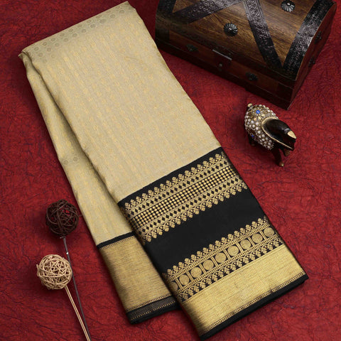 Beige Kanchipuram Designer Silk Saree