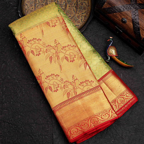 Parrot Green Kanchipuram Gold Tissue Silk Saree