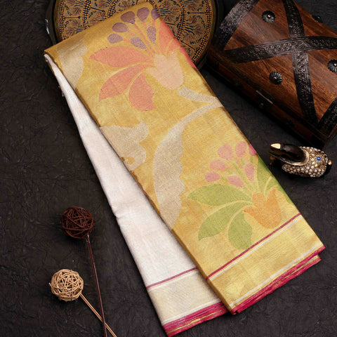 Gold and Silver Tissue Designer Saree