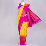 Turmeric Yellow designer handloom silk saree