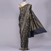 Navy Blue pure banarasi kaddi georgette saree