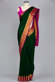 Bottle green mysore silk crepe saree
