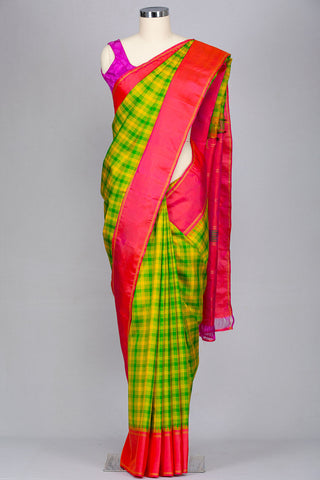 Lemon yellow and parrot green checkered pure kanjeevaram silk saree