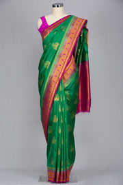 Rama green semi silk designer saree
