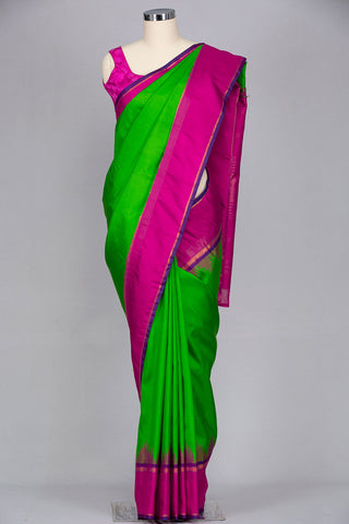 Parrot green pure kanjeevaram silk saree