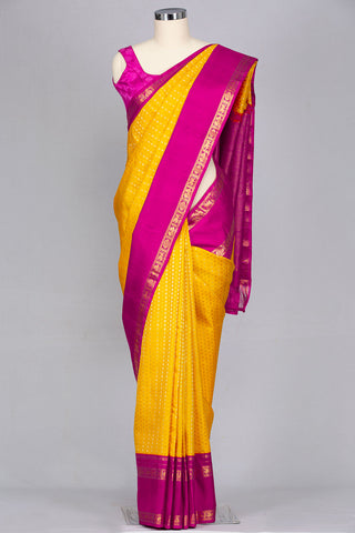 Yellow designer silk saree