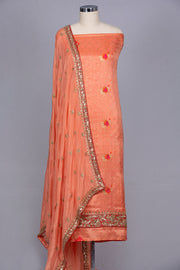 Peach semi silk unstitched suit material