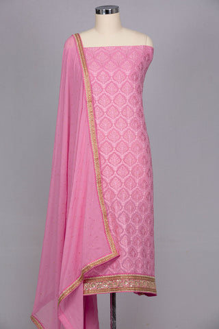 Baby pink georgette unstitched suit material