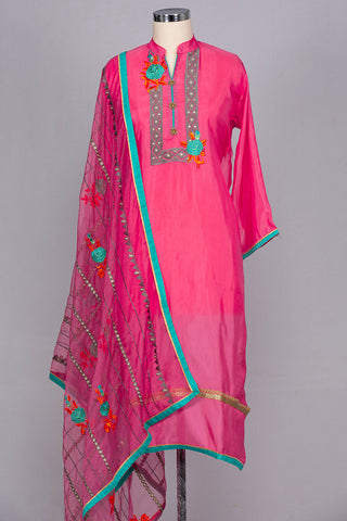 Watermelon pink semi stitched suit material