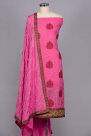 Pink georgette unstitched suit material