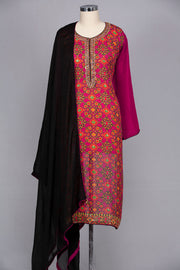 Brick red georgette semi stitched suit