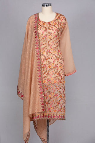 Peachish pink chanderi silk semi stitched suit