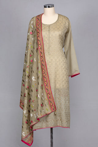 Cardamom coloured chanderi semi stitched suit material