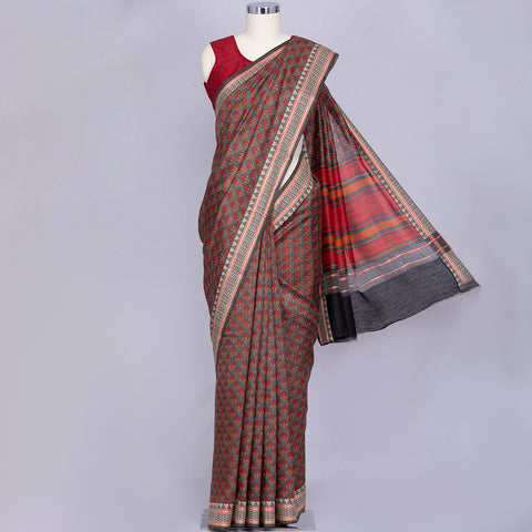 Grey pure tussar pashmina silk saree