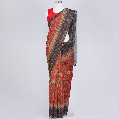 Brick red semi dupion multicolour printed saree