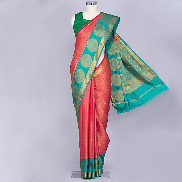 Bottle green and red layered kurti and scarf set