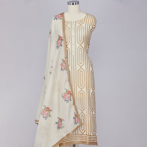 White and navy blue printed short kurti