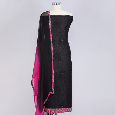 Black chanderi cotton unstitched suite material set