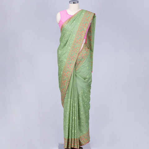 Mint green pure tussar silk floral embroidery saree