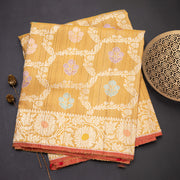 Oil mustard pure banarasi silk saree