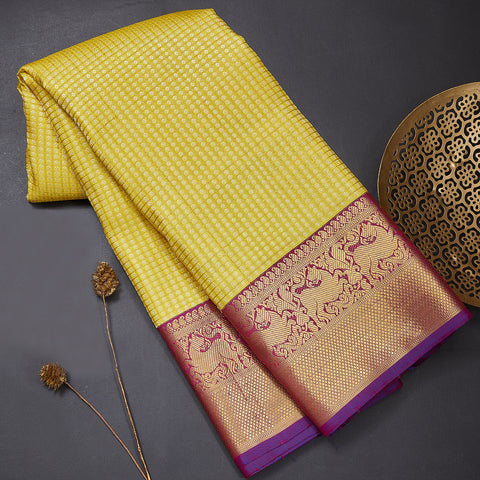 Lemon yellow pure kanjeevaram silk saree