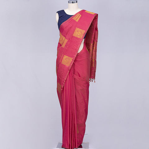 Rose pink art silk saree