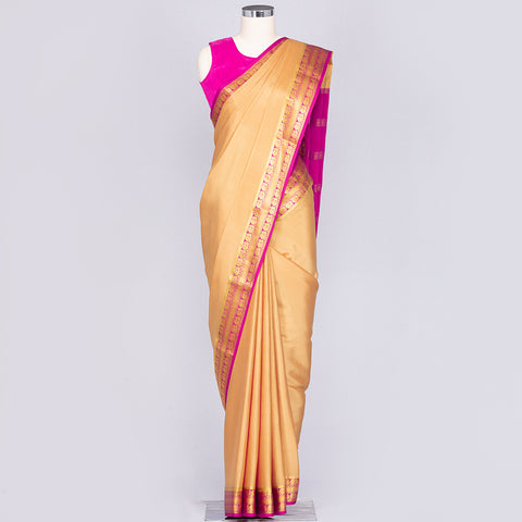 Golden Beige and Magenta pure Mysore crepe silk saree