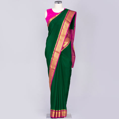 Bottle Green and Magenta mysore silk saree