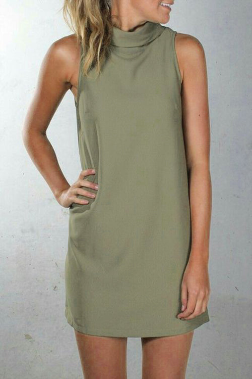 Viegal Casual Turtleneck Army Green Qmilch Mini Dress
