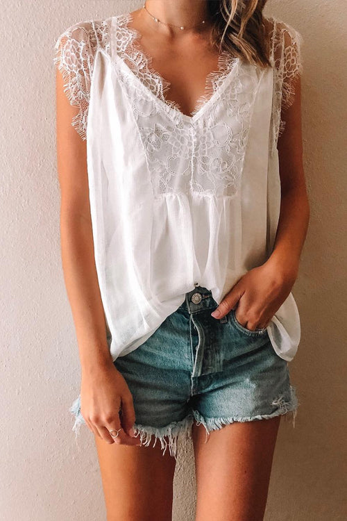 Viegal Casual Lace Spliced Chiffon Tank Top (2 colors)