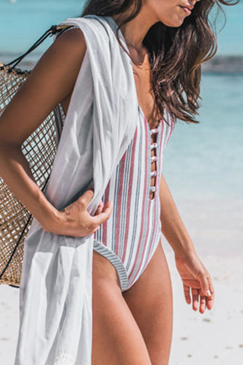 Viegal Trendy Striped Printed Multicolor One-piece Swimwear