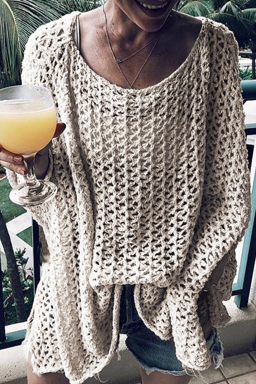 Viegal Casual Hollowed-out Apricot Knitting CoverUp