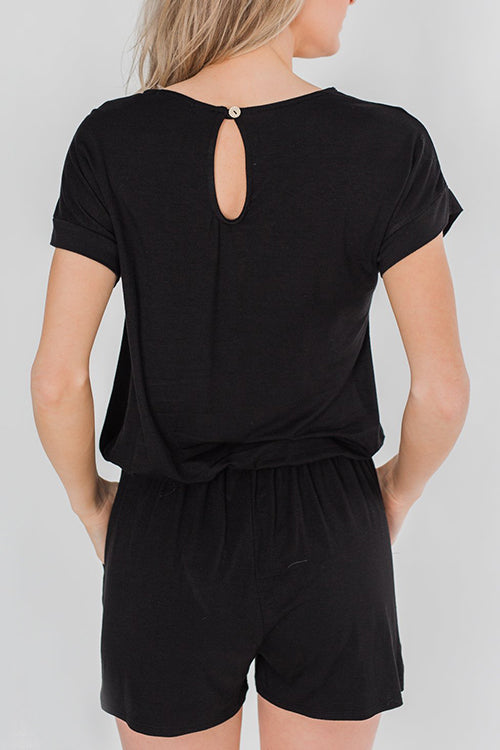 Viegal Drawstring Loose One-piece Romper
