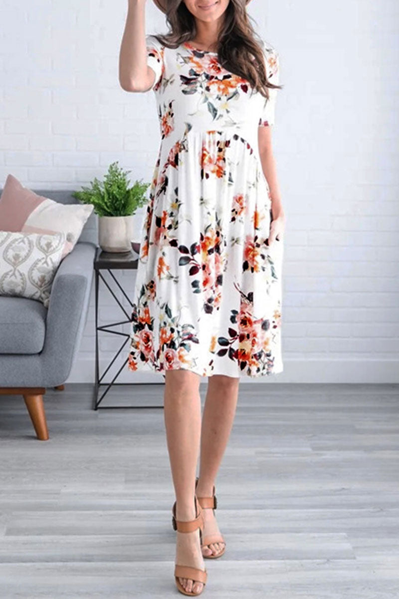 Viegal Floral Printed White Dress